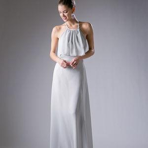 Silver Sleeveless Long Lace Prom Dress CD13031
